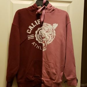 Burgundy/Pink Hoodie Sweat Shirt